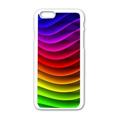 Spectrum Rainbow Background Surface Stripes Texture Waves Apple Iphone 6/6s White Enamel Case by Simbadda