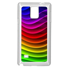 Spectrum Rainbow Background Surface Stripes Texture Waves Samsung Galaxy Note 4 Case (white) by Simbadda