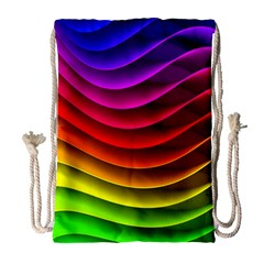 Spectrum Rainbow Background Surface Stripes Texture Waves Drawstring Bag (large) by Simbadda