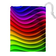 Spectrum Rainbow Background Surface Stripes Texture Waves Drawstring Pouches (xxl) by Simbadda