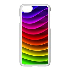 Spectrum Rainbow Background Surface Stripes Texture Waves Apple Iphone 7 Seamless Case (white) by Simbadda