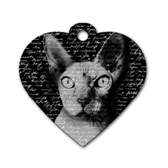 Sphynx Cat Dog Tag Heart (one Side) by Valentinaart