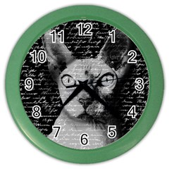 Sphynx Cat Color Wall Clocks by Valentinaart