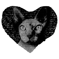 Sphynx Cat Large 19  Premium Heart Shape Cushions by Valentinaart