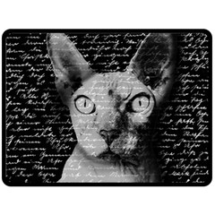 Sphynx Cat Double Sided Fleece Blanket (large)  by Valentinaart