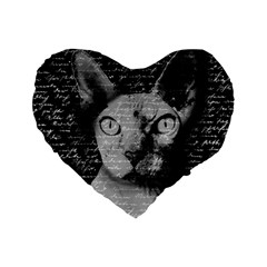 Sphynx Cat Standard 16  Premium Flano Heart Shape Cushions by Valentinaart