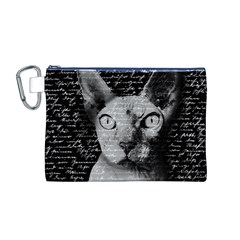 Sphynx Cat Canvas Cosmetic Bag (m) by Valentinaart