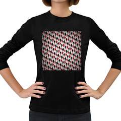 Suit Spades Hearts Clubs Diamonds Background Texture Women s Long Sleeve Dark T Shirts by Simbadda