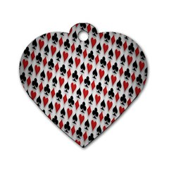 Suit Spades Hearts Clubs Diamonds Background Texture Dog Tag Heart (two Sides) by Simbadda