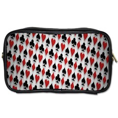 Suit Spades Hearts Clubs Diamonds Background Texture Toiletries Bags by Simbadda