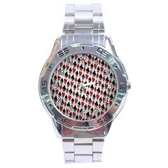 Suit Spades Hearts Clubs Diamonds Background Texture Stainless Steel Analogue Watch by Simbadda