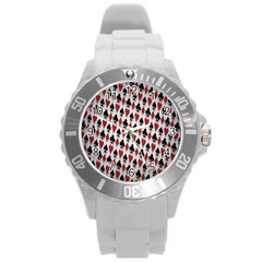 Suit Spades Hearts Clubs Diamonds Background Texture Round Plastic Sport Watch (l) by Simbadda