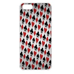 Suit Spades Hearts Clubs Diamonds Background Texture Apple Iphone 5 Seamless Case (white) by Simbadda