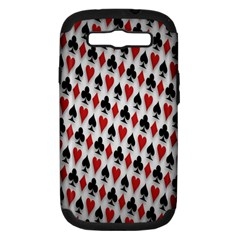 Suit Spades Hearts Clubs Diamonds Background Texture Samsung Galaxy S Iii Hardshell Case (pc+silicone) by Simbadda