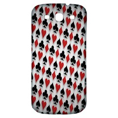 Suit Spades Hearts Clubs Diamonds Background Texture Samsung Galaxy S3 S Iii Classic Hardshell Back Case by Simbadda