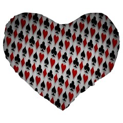 Suit Spades Hearts Clubs Diamonds Background Texture Large 19  Premium Heart Shape Cushions by Simbadda
