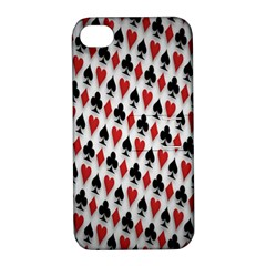 Suit Spades Hearts Clubs Diamonds Background Texture Apple Iphone 4/4s Hardshell Case With Stand by Simbadda
