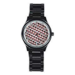 Suit Spades Hearts Clubs Diamonds Background Texture Stainless Steel Round Watch by Simbadda