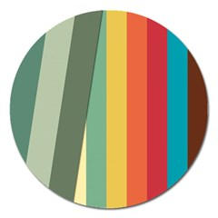 Texture Stripes Lines Color Bright Magnet 5  (round) by Simbadda