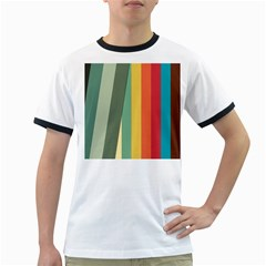 Texture Stripes Lines Color Bright Ringer T Shirts by Simbadda