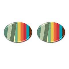 Texture Stripes Lines Color Bright Cufflinks (oval) by Simbadda
