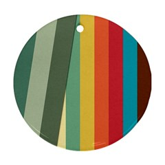 Texture Stripes Lines Color Bright Round Ornament (two Sides) by Simbadda