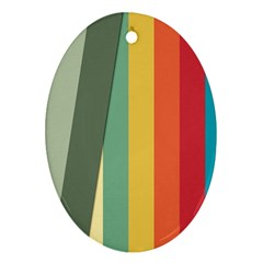 Texture Stripes Lines Color Bright Oval Ornament (two Sides) by Simbadda