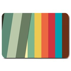Texture Stripes Lines Color Bright Large Doormat  by Simbadda