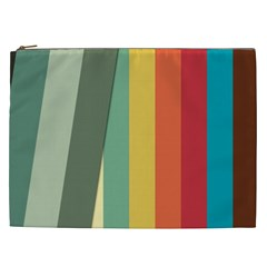 Texture Stripes Lines Color Bright Cosmetic Bag (xxl)  by Simbadda