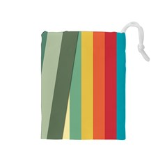 Texture Stripes Lines Color Bright Drawstring Pouches (medium)  by Simbadda