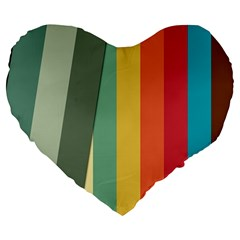 Texture Stripes Lines Color Bright Large 19  Premium Flano Heart Shape Cushions by Simbadda