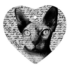 Sphynx Cat Heart Ornament (two Sides) by Valentinaart