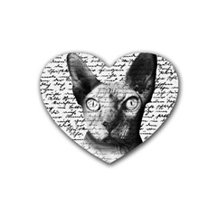 Sphynx Cat Rubber Coaster (heart)  by Valentinaart
