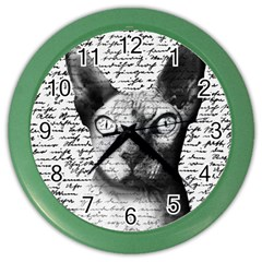 Sphynx Cat Color Wall Clocks by Valentinaart