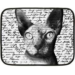 Sphynx Cat Double Sided Fleece Blanket (mini)  by Valentinaart