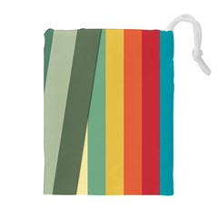 Texture Stripes Lines Color Bright Drawstring Pouches (extra Large) by Simbadda