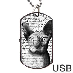 Sphynx Cat Dog Tag Usb Flash (two Sides) by Valentinaart