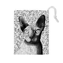 Sphynx Cat Drawstring Pouches (large)  by Valentinaart