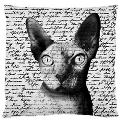 Sphynx Cat Large Flano Cushion Case (two Sides) by Valentinaart