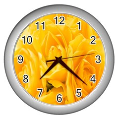 Yellow Neon Flowers Wall Clocks (silver)  by Simbadda
