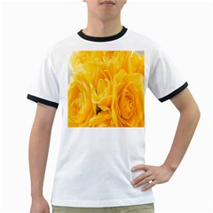 Yellow Neon Flowers Ringer T Shirts by Simbadda