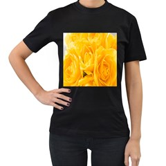 Yellow Neon Flowers Women s T Shirt (black) (two Sided) by Simbadda
