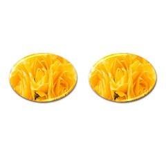 Yellow Neon Flowers Cufflinks (oval) by Simbadda