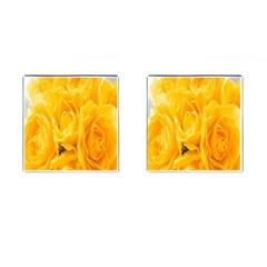 Yellow Neon Flowers Cufflinks (square) by Simbadda