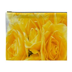 Yellow Neon Flowers Cosmetic Bag (xl) by Simbadda