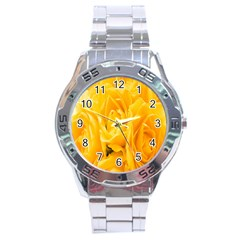 Yellow Neon Flowers Stainless Steel Analogue Watch by Simbadda