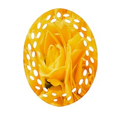 Yellow Neon Flowers Ornament (oval Filigree) by Simbadda