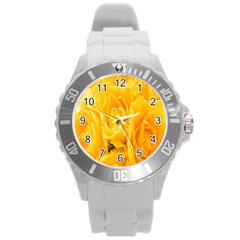 Yellow Neon Flowers Round Plastic Sport Watch (l) by Simbadda