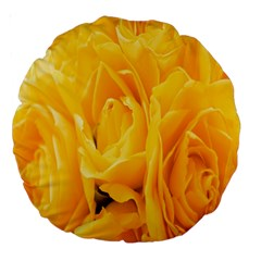 Yellow Neon Flowers Large 18  Premium Round Cushions by Simbadda