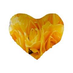 Yellow Neon Flowers Standard 16  Premium Heart Shape Cushions by Simbadda